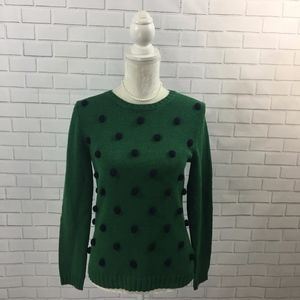 Green Pullover Sweater w/ 3D Polka Dots NWT